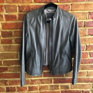 Coach Gray Leather Jacket